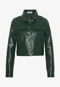 BUTTON FRONT JACKET - Faux leather jacket - dark green