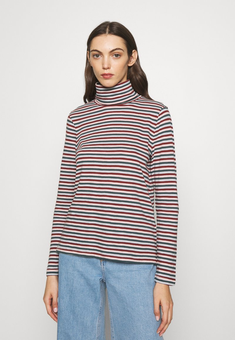 Madewell - WHISPER TURTLENECK IN GRINCH STRIPE - Long sleeved top - midnight green