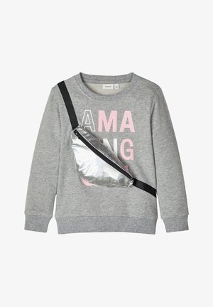 NAME IT SWEATSHIRT GÜRTELTASCHENAPPLIKATION - Sweater - grey melange