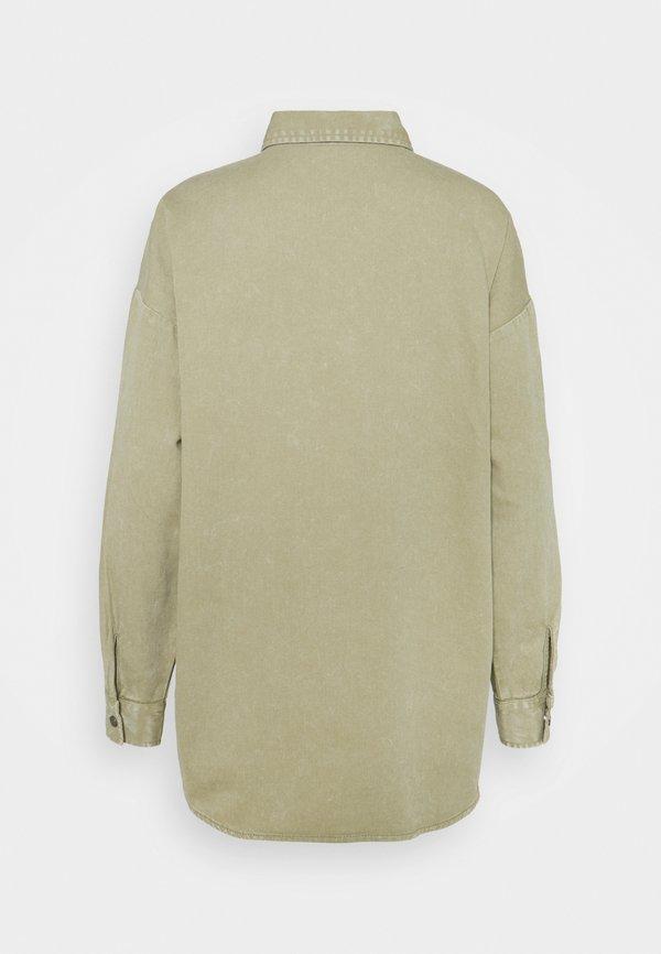 Noisy May NMFLANNY LONG SHACKET - Koszula - oil green/jasnozielony UDLT