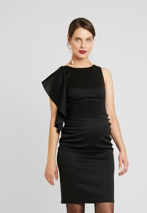 RUFFLE PANEL BODYCON DRESS - Koktejlové šaty / šaty na párty - black