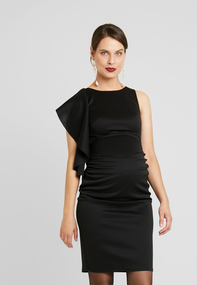 RUFFLE PANEL BODYCON DRESS - Cocktailkjole - black