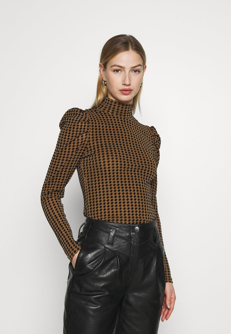 Fashion Union - TISHOW - Long sleeved top - pecan houndstooth