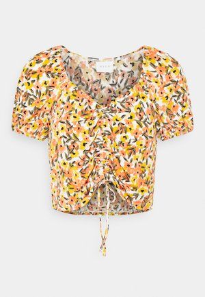 VIMIE - Print T-shirt - cloud dancer/orange