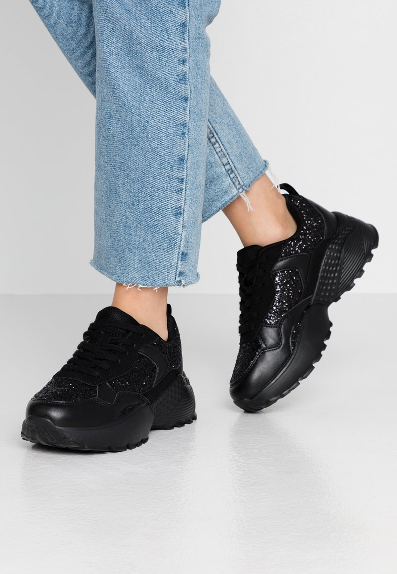 Simply Be - WIDE FIT TAYLOR CHUNKY SOLE TRAINERS - Joggesko - black