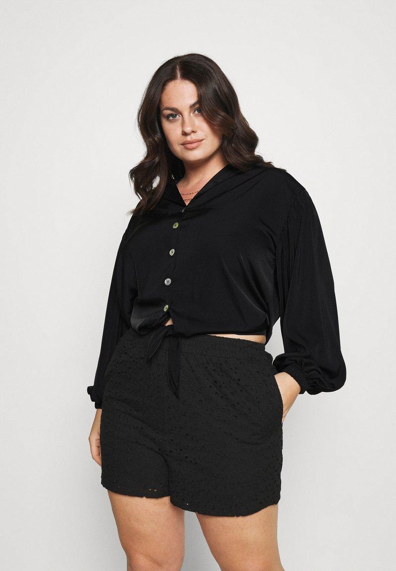 Simply Be - TIE FRONT BUTTON THROUGH BLOUSE - Button-down blouse - black