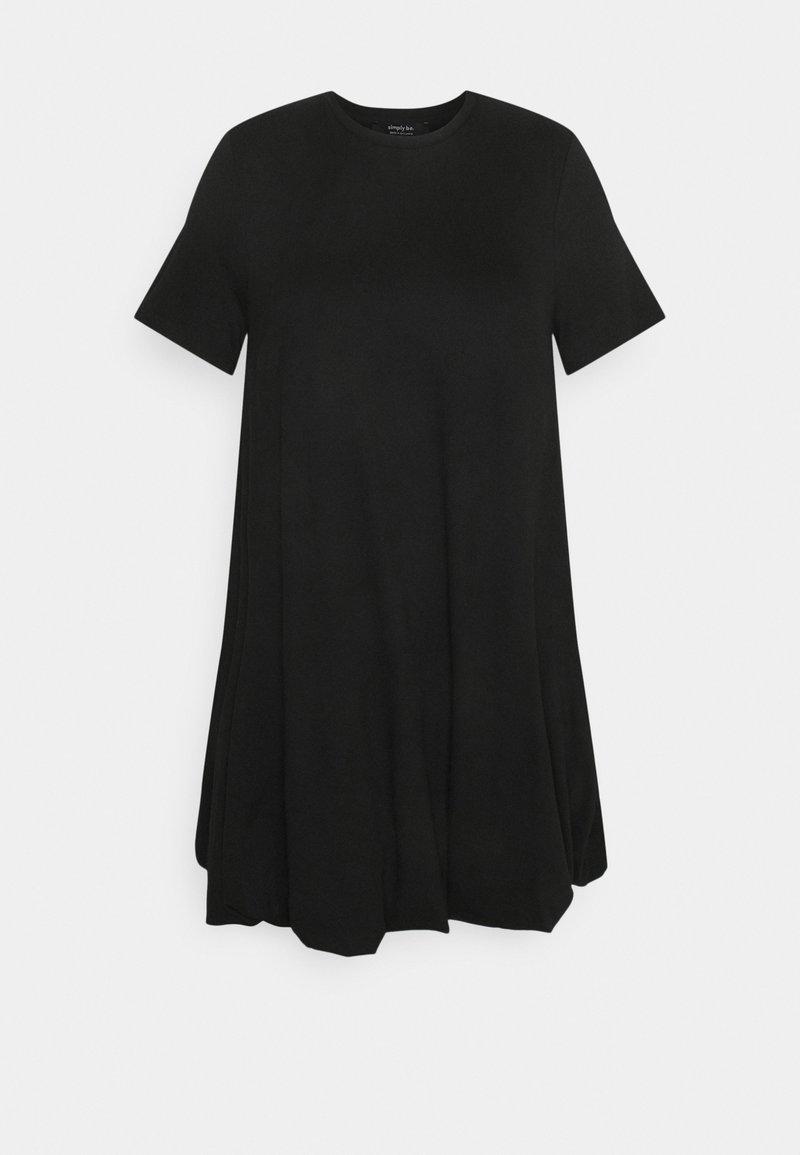 Simply Be - PUFFBALL SWING DRESS - Jersey dress - black