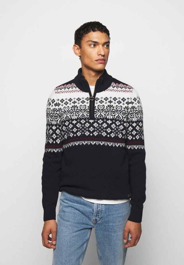 FAIRISLE HALF ZIP - Trui - navy