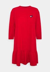 Tommy Jeans - HOMESPUN HEART TEE DRESS - Jersey dress - deep crimson - 0