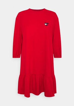 HOMESPUN HEART TEE DRESS - Jersey dress - deep crimson
