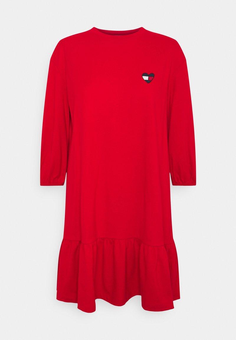 Tommy Jeans - HOMESPUN HEART TEE DRESS - Jersey dress - deep crimson
