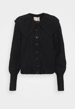 HAIRY POMPOM CARDIGAN - Vest - black