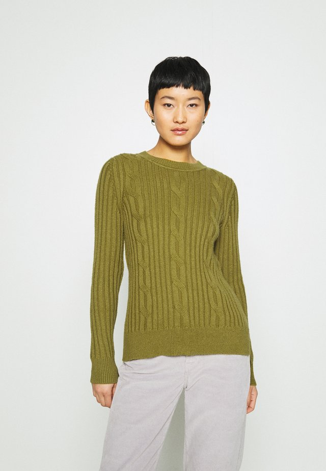 DOORBUSTER CREW CABLE - Sweter - cargo olive
