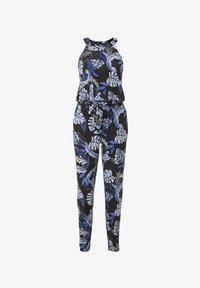 black blue tropical print
