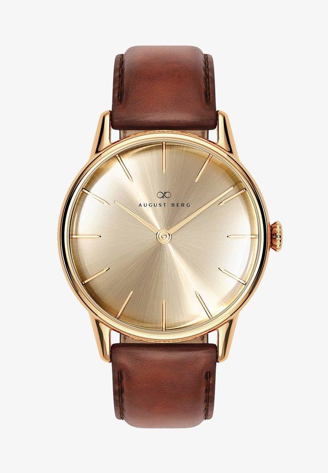 UHR SERENITY SHINE GOLD DARK BROWN LEATHER 32MM - Horloge - sunray gold