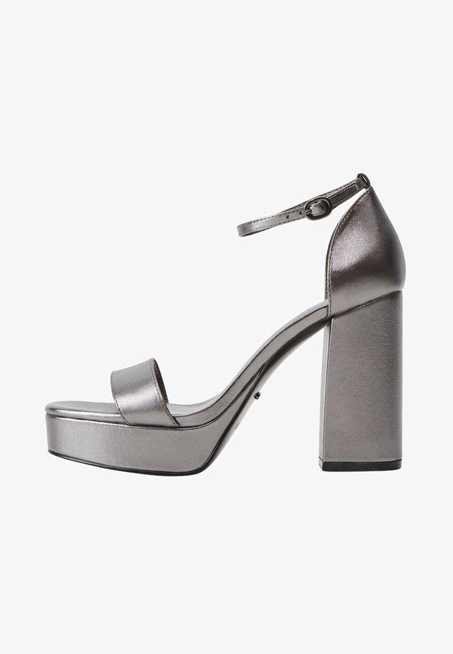 WATCHER - Platform sandals - argento scuro