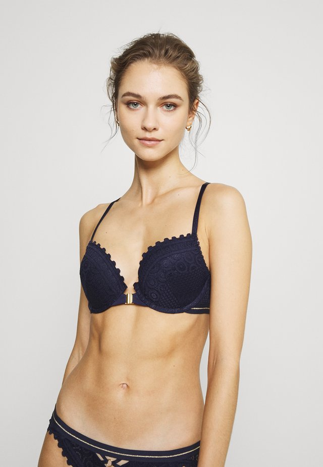 MOSAIC PLUNGE WITH RACERBACK - Push-up BH - navy