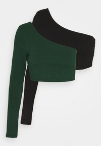 Glamorous - CROP ASYMMETRIC ONE SLEEVE 2 PACK - Long sleeved top - black / forest green - 4