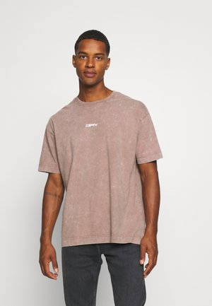 STONE ACID WASH BACK BUTTERFLY UNISEX - T-shirt print - stone