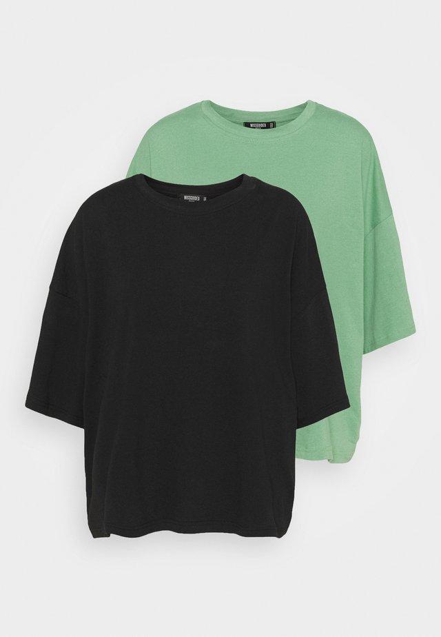 2 PACK DROP SHOULDER OVERSIZED  - Basic T-shirt - jade/black