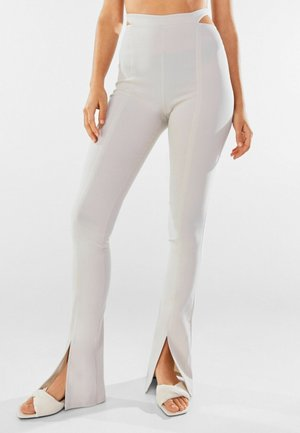 MIT CUT-OUTS AM BUND - Trousers - light grey