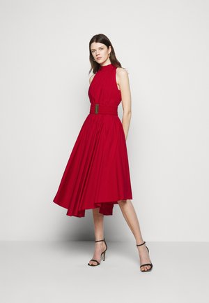 HALTER POPLIN DRESS - Maksimekko - crimson