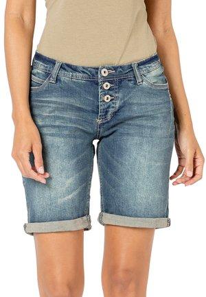 BERMUDA MIT AUFSCHLAG - Denim shorts - dark-blue