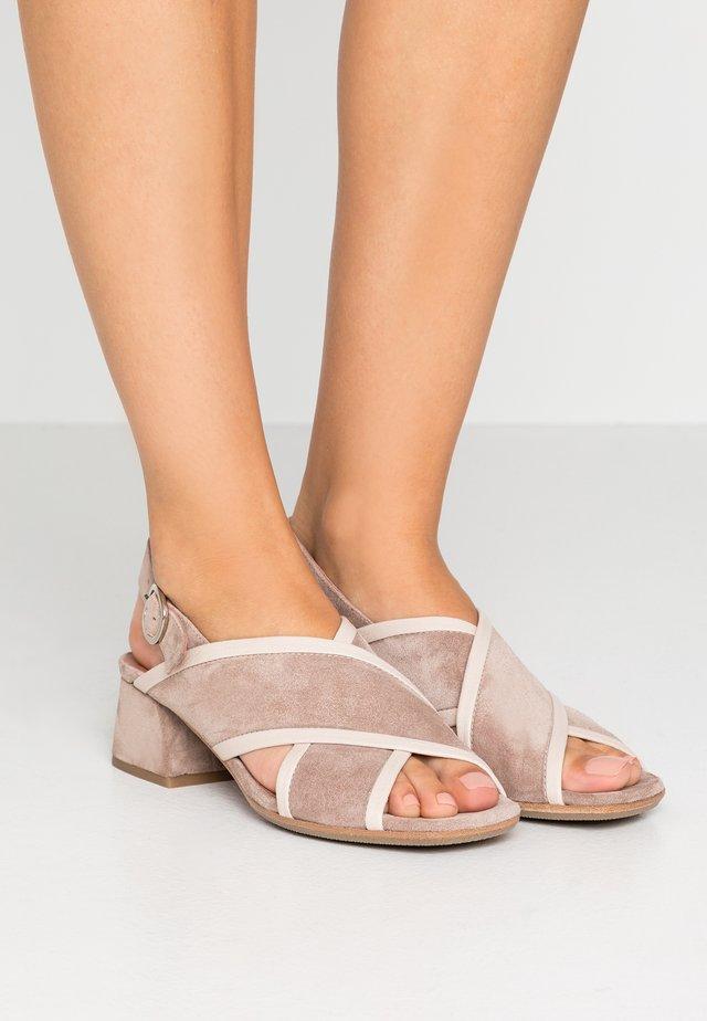 SAND - Sandals - grey/rose