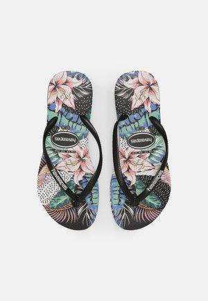 SLIM FLORAL DOTS - Pool shoes - black