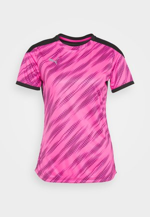 GRAPHIC - Camiseta estampada - black/blue glimmer/luminous pink