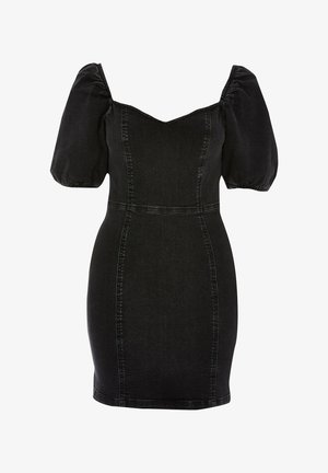 BLACK PUFF SLEEVE FITTED DENIM MINI DRESS - Jeansklänning - black