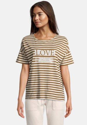 Print T-shirt - weiß/braun