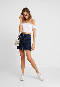 Miss Selfridge - ZIP THROUGH SKIRT - A-line skirt - blue denim - 1