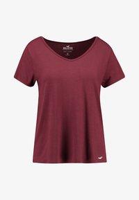 Hollister Co. - SHORT SLEEVE EASY VEE TEE - Basic T-shirt - burgundy - 3