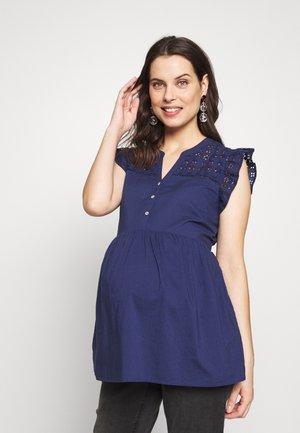 BRODERIE DETAIL BLOUSE - Blusa - navy