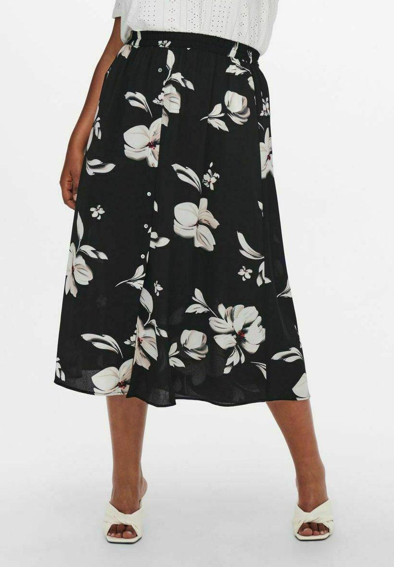 ONLY Carmakoma - CURVY PRINT - A-line skirt - black