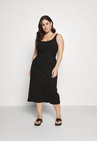 Selected Femme Curve - SLFNANNA STRAP DRESS - Jersey dress - black - 0