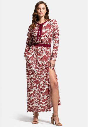 WITH NECK TIE - Maxi dress - burgundy geo blossoms