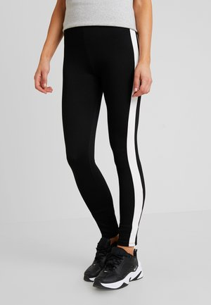 TAPE DETAIL PANTS - Leggings - Trousers - black