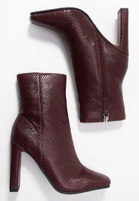 Topshop - HALIA SQUARE TOE - High heeled ankle boots - burgundy - 3