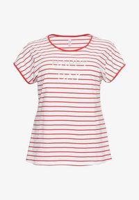Sheego - Print T-shirt - karminrot-weiß - 4