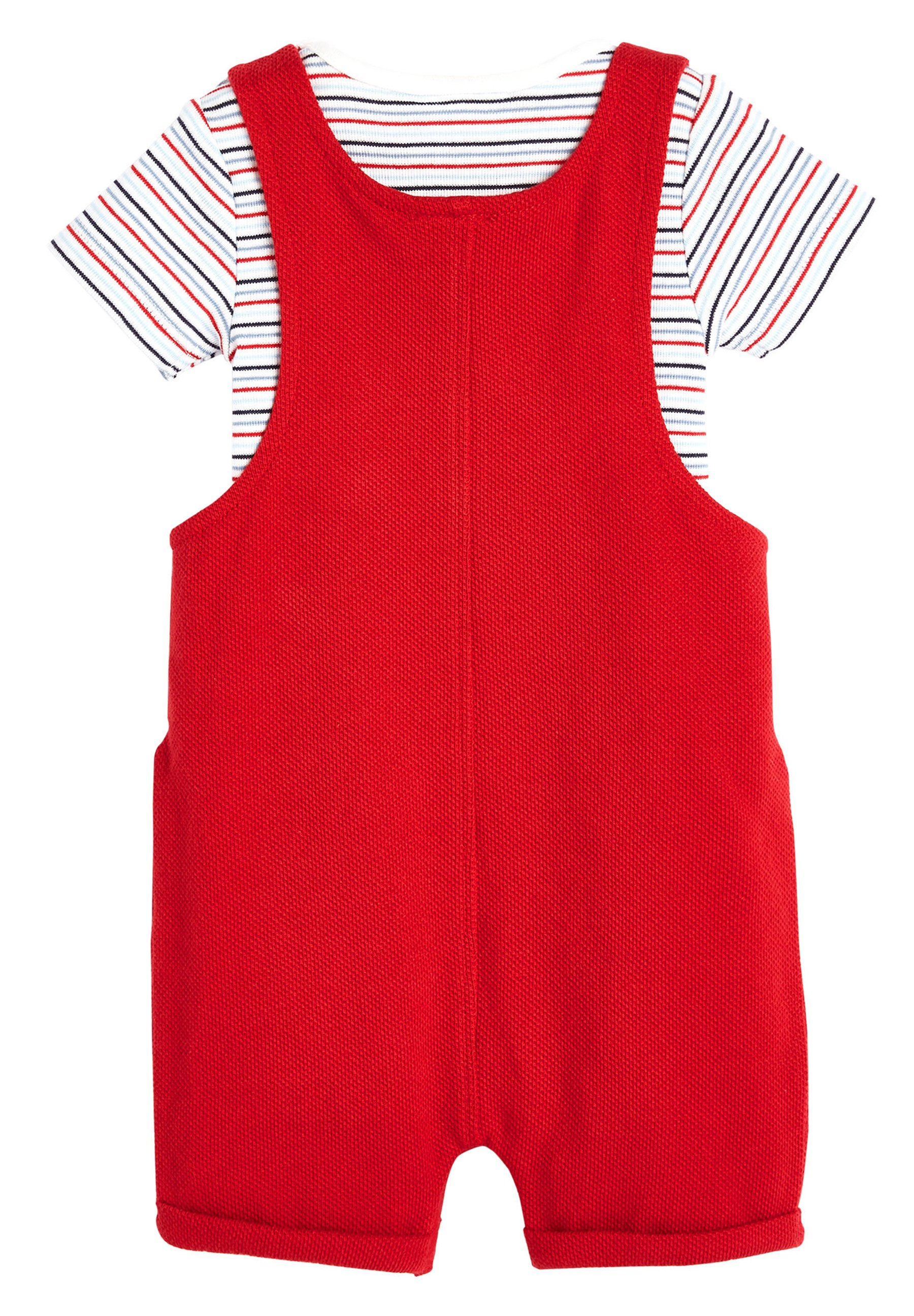 Kinder RED DUNGAREES AND BODYSUIT SET (0MTHS-2YRS) - Body