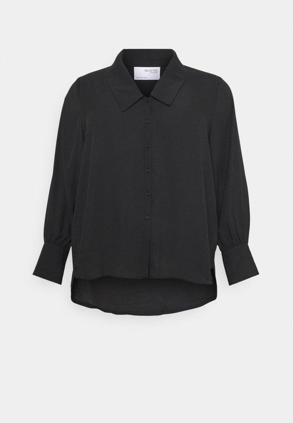 Selected Femme Curve SLFORIS - Bluzka - black/czarny FCOK