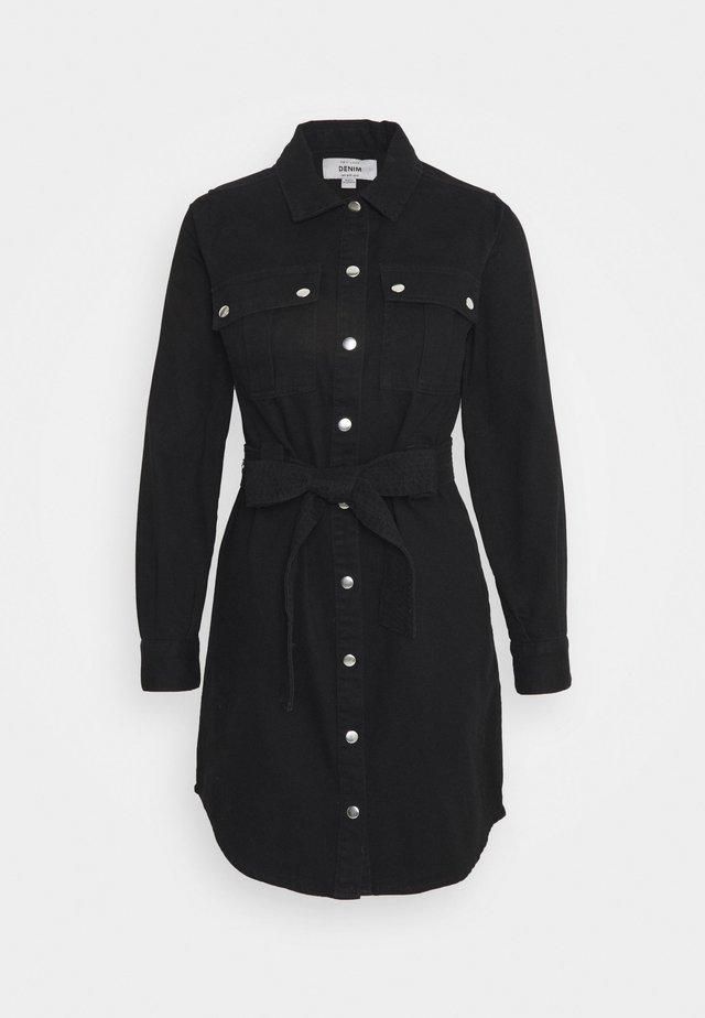 SIMONE LONG SLEEVE DRESS - Denim dress - black