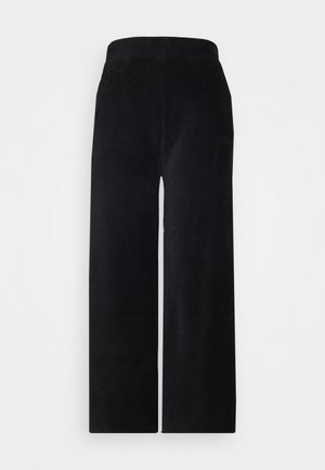 WIDE LEG CROPPED CORD TROUSERS - Trousers - black