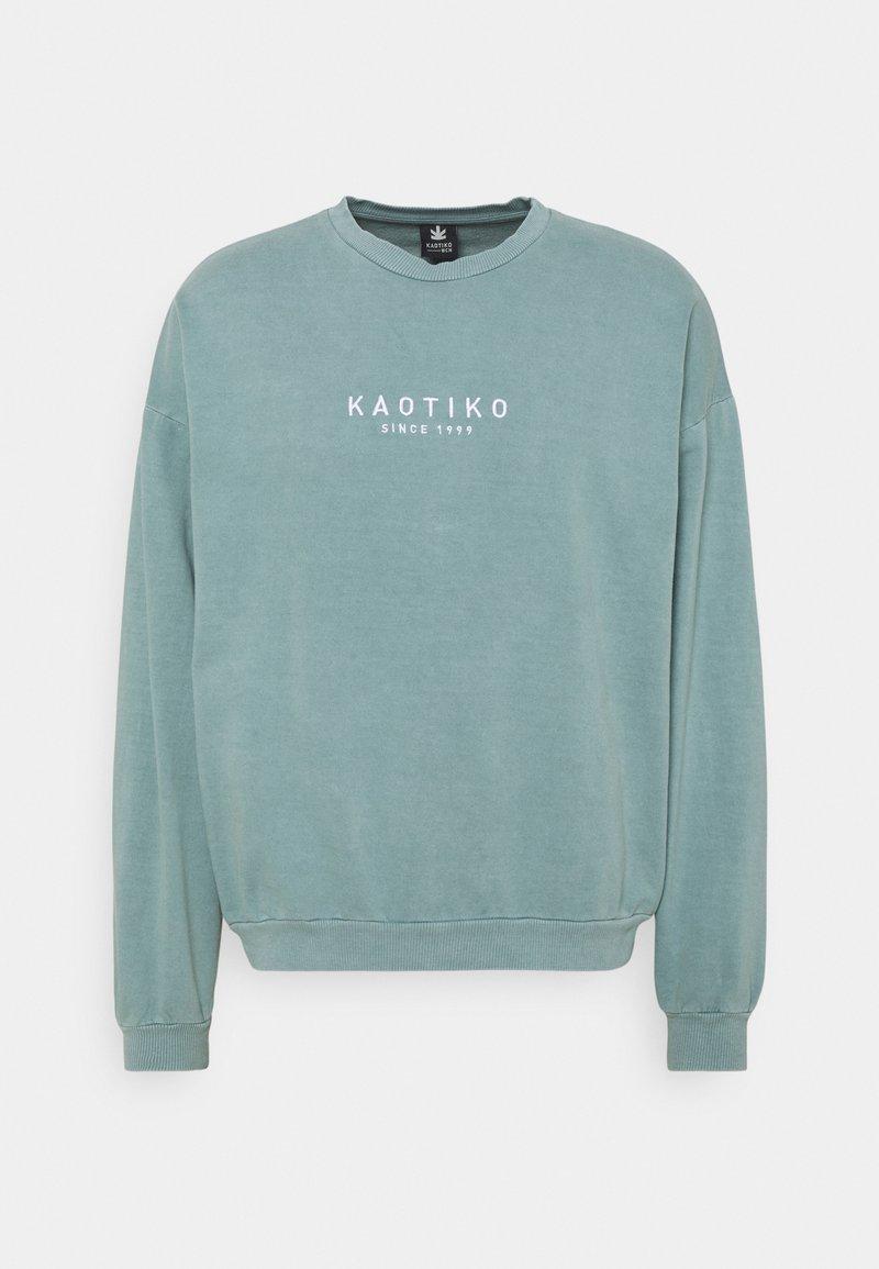 Kaotiko - CREW WASHED ALAN - Sweatshirt - aqua