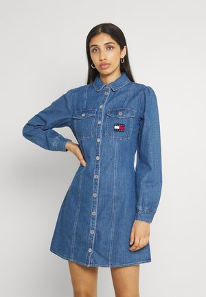 CHAMBRAY SHIRT DRESS - Robe en jean - mid indigo