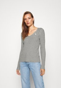 Abercrombie & Fitch - ICON CABLE VNECK - Jumper - light grey - 2