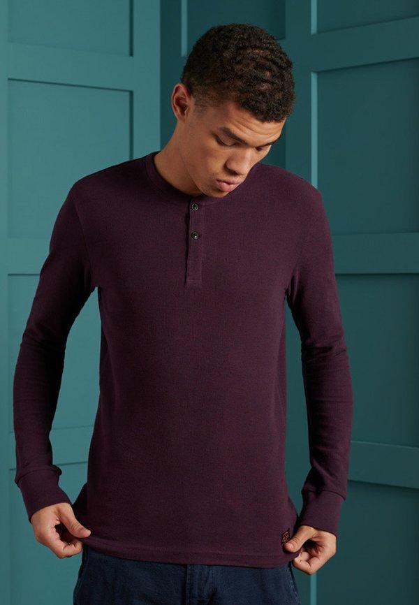 Superdry MICRO TEXTURE - Bluzka z długim rękawem - academy port/czerwony Odzież Męska XPGN