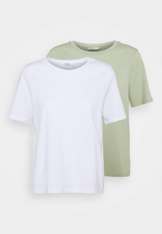 ONLONLY LIFE 2 PACK  - T-shirt imprimé - white/desert sage